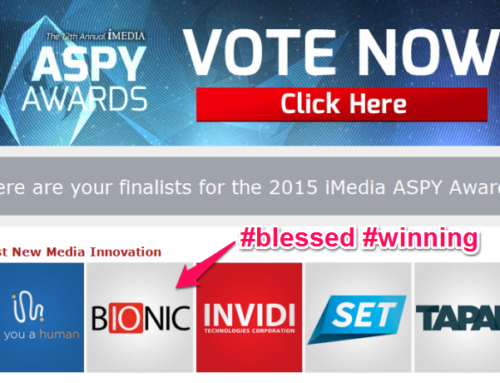 "Bionic nominated ""Best New Media Innovation"" for 2015 iMedia ASPY Awards"