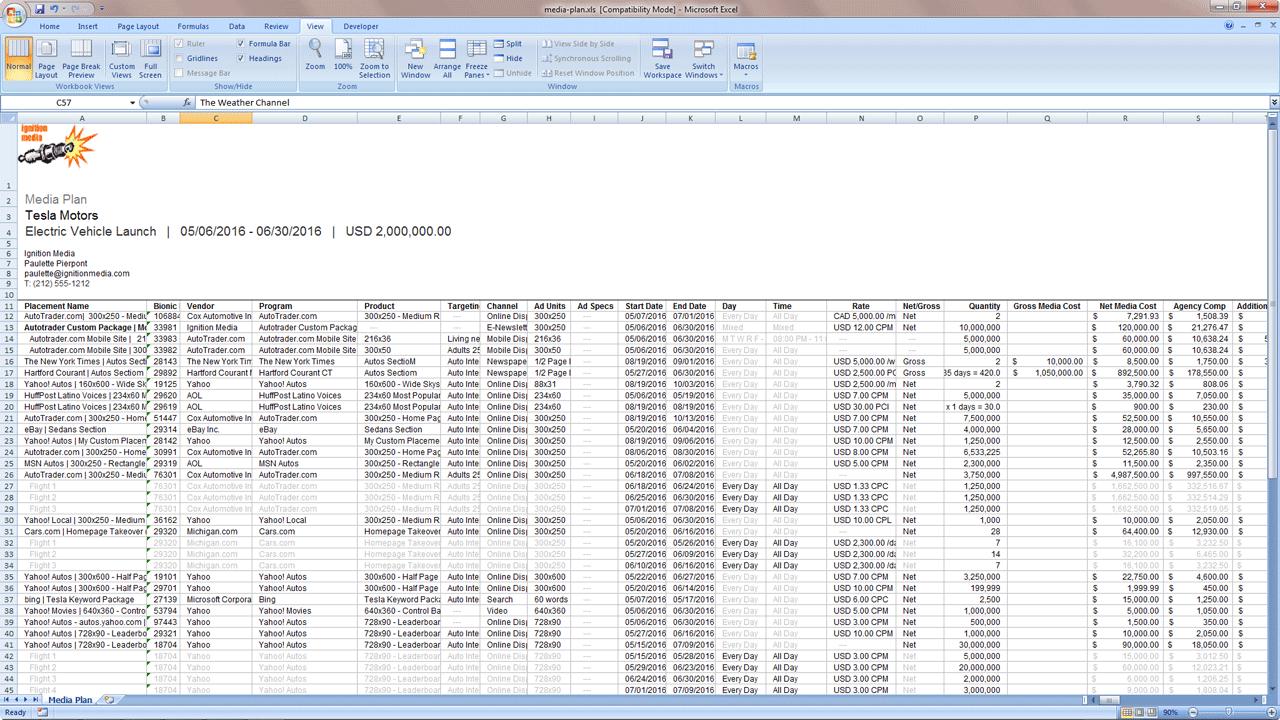 Media Plan Excel Export