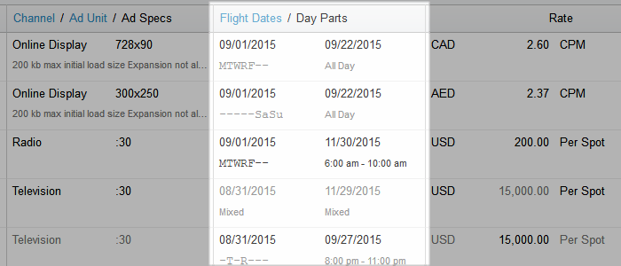 media plan flight dates day parts diagram