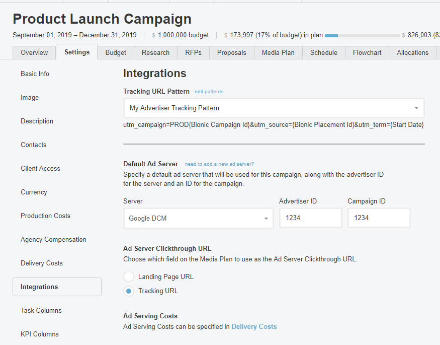 Campaign Settings Integrations
